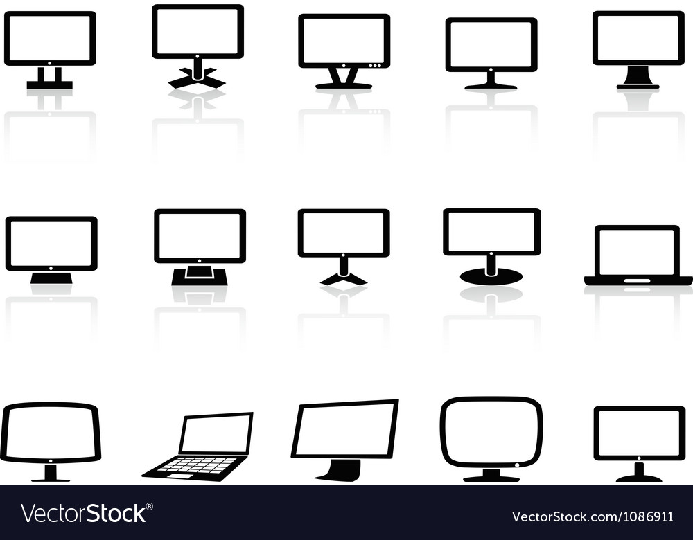 Computer monitor icons set vector | Price: 1 Credit (USD $1)