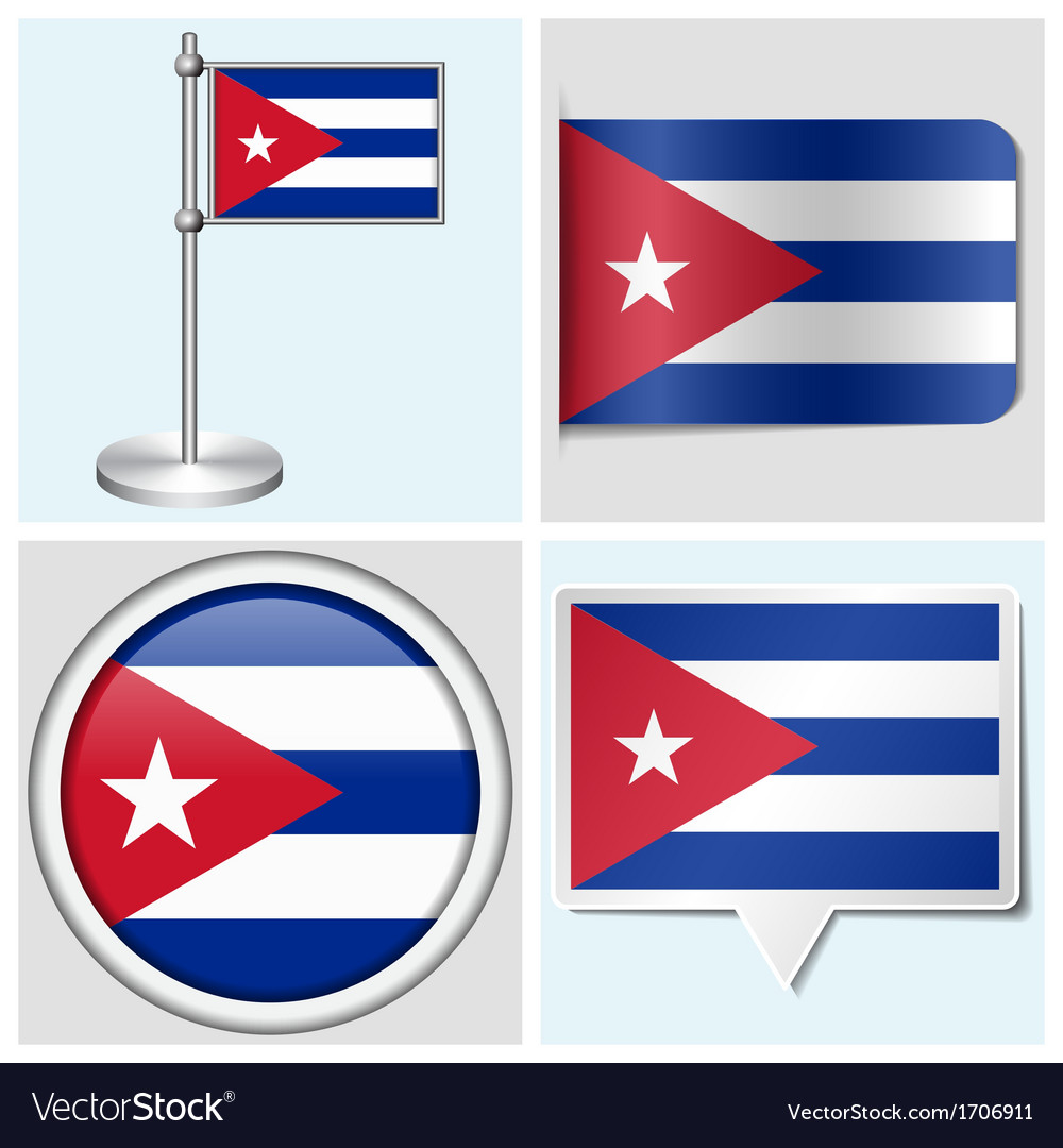 Cuba flag - sticker button label flagstaff vector | Price: 1 Credit (USD $1)