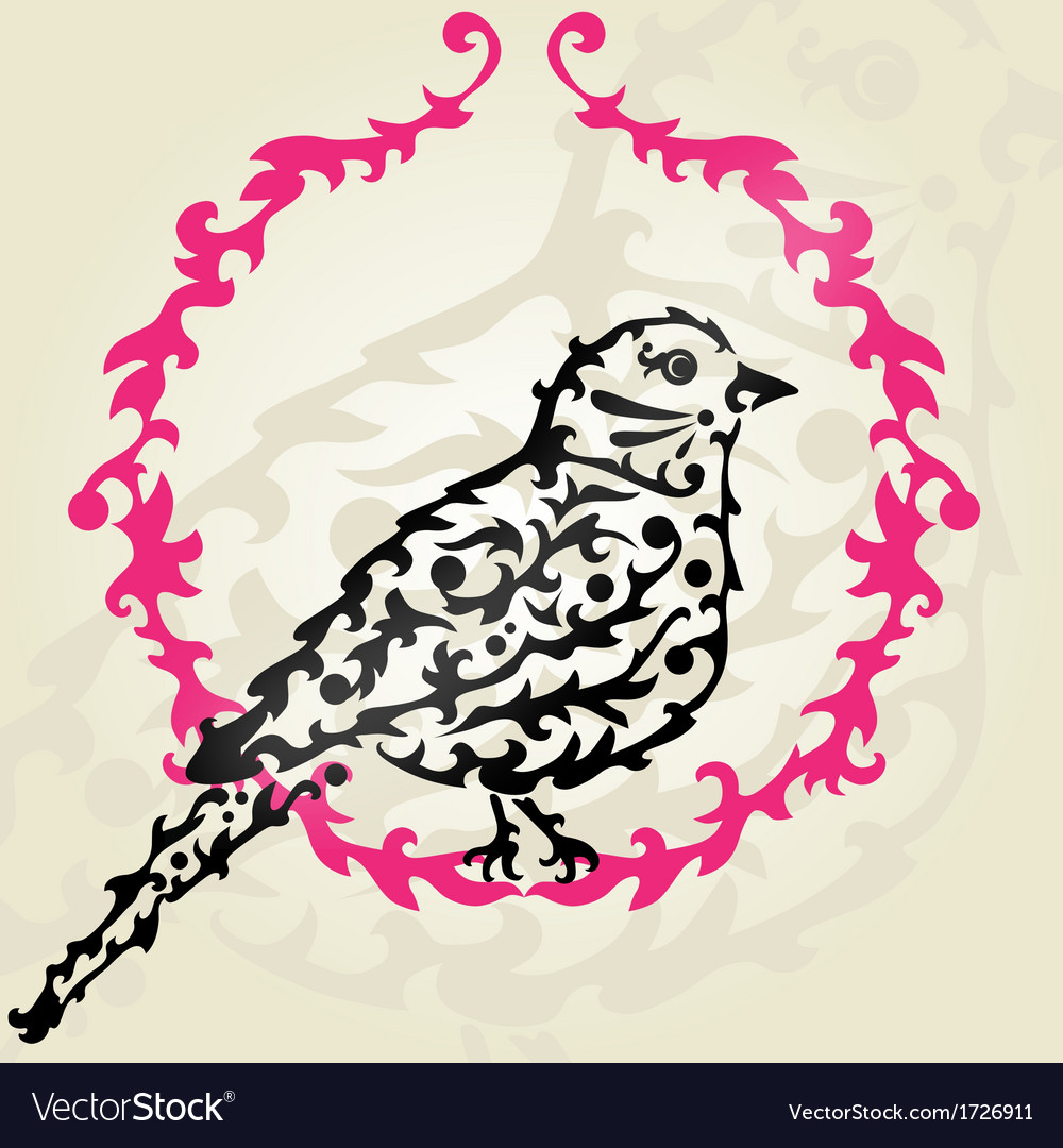 Decorative sparrow vector | Price: 1 Credit (USD $1)
