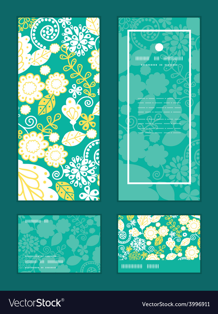 Emerald flowerals vertical frame pattern vector | Price: 1 Credit (USD $1)