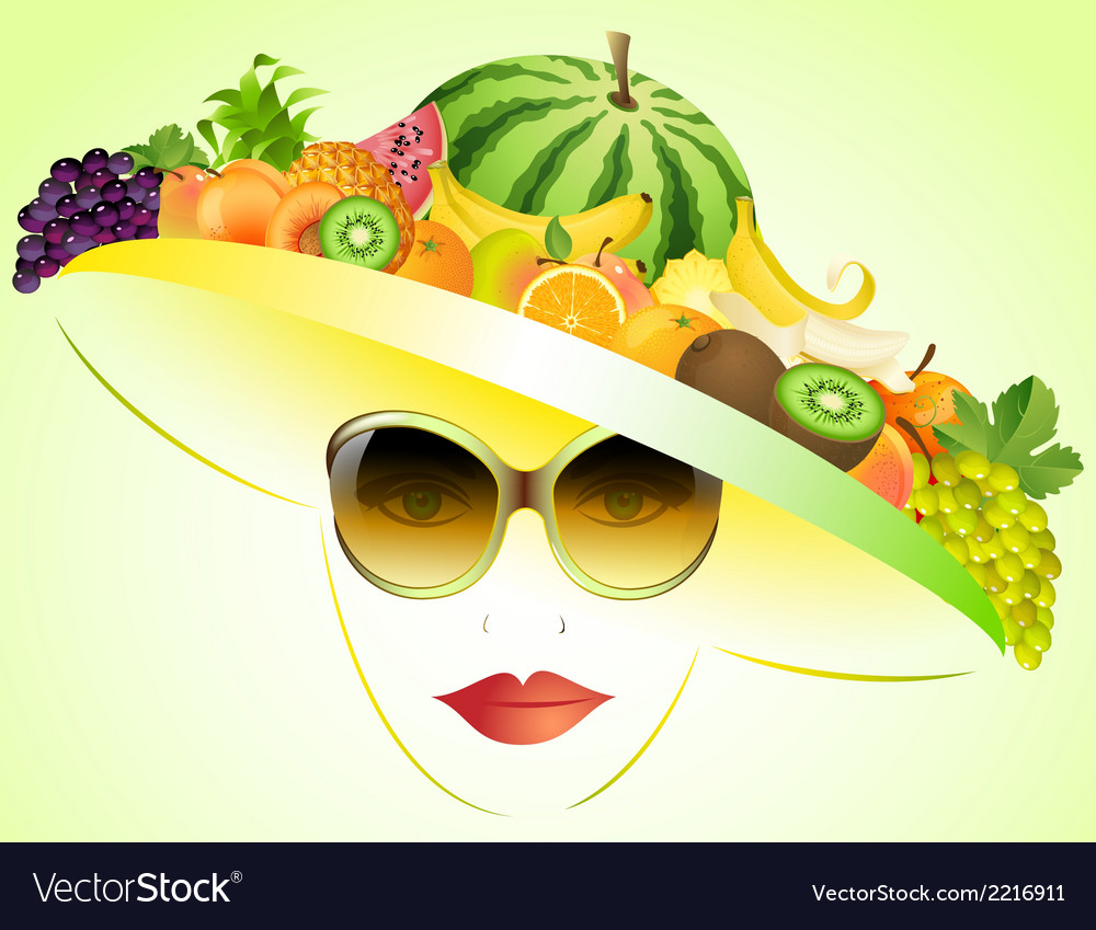 Girl and summer fruits vector | Price: 1 Credit (USD $1)