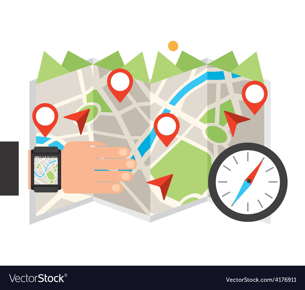 Gps app vector | Price: 1 Credit (USD $1)