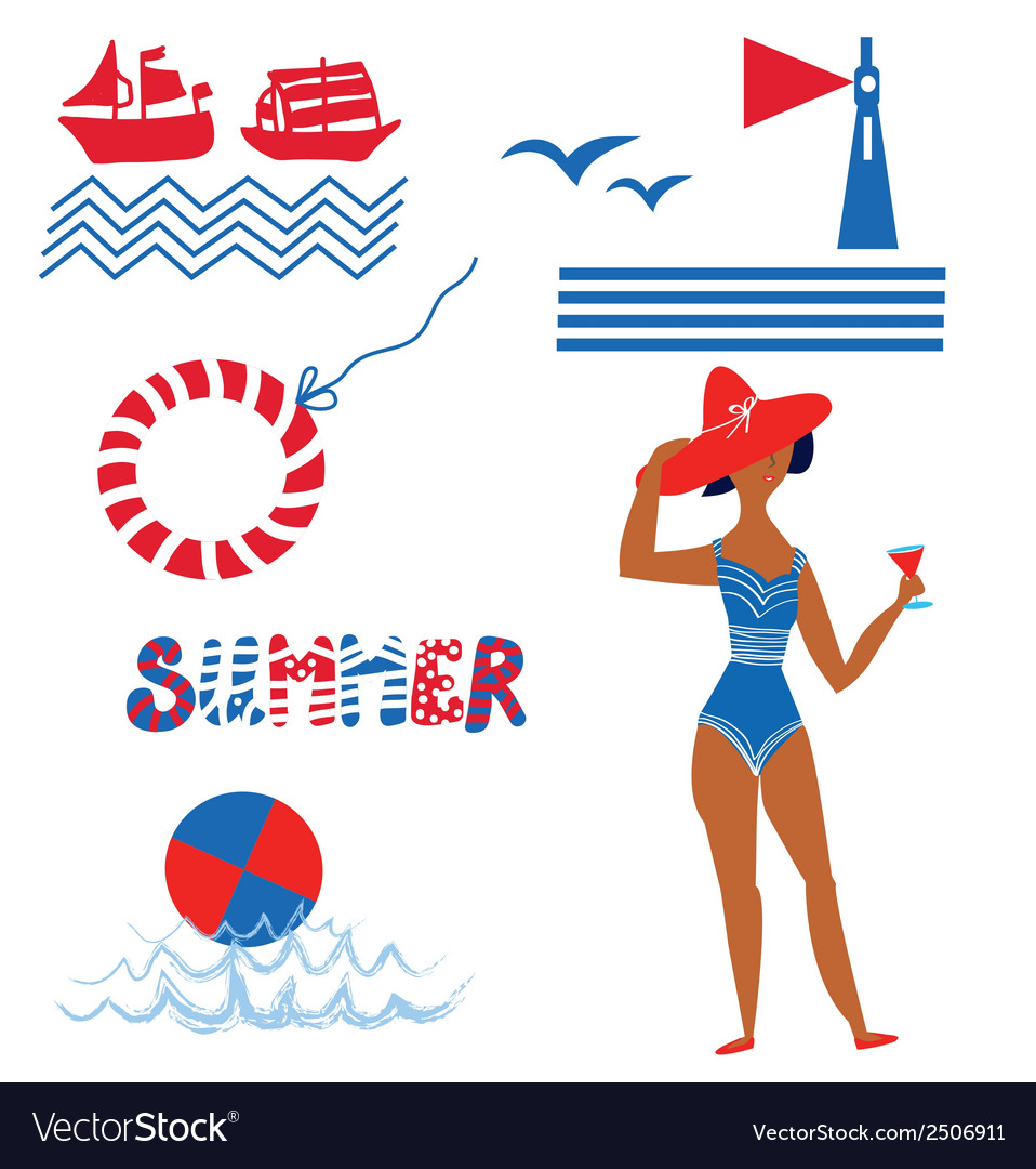 Sea and beach set funny icons vector | Price: 1 Credit (USD $1)