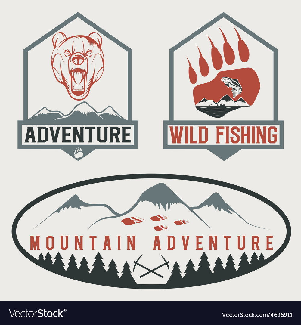 Set of vintage adventure labels with bearsalmon vector | Price: 1 Credit (USD $1)