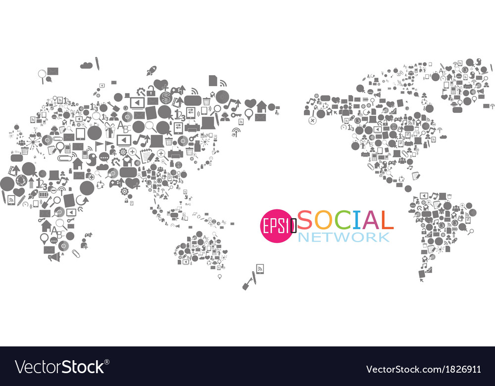 Social network map background infographics vector | Price: 1 Credit (USD $1)