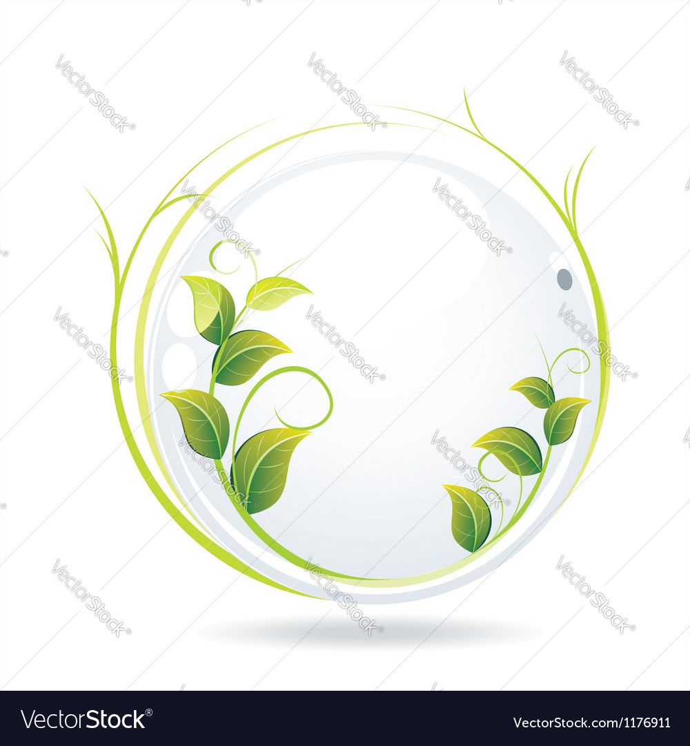 White glass ball with wet leaves vector | Price: 1 Credit (USD $1)