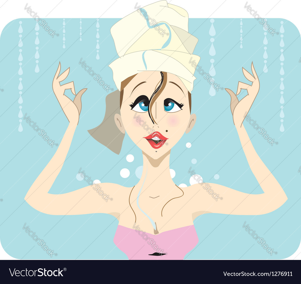 Young brunette taking a shower with curly hair vector | Price: 3 Credit (USD $3)