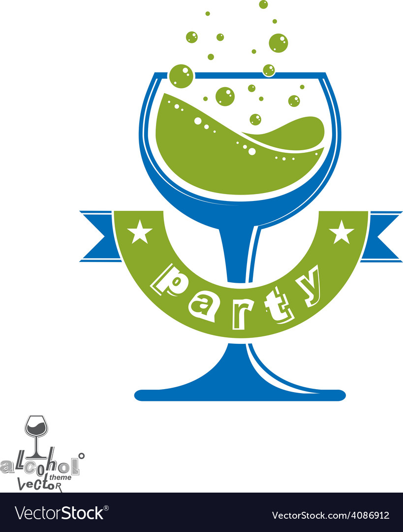 Alcohol theme art festive goblet with decor vector | Price: 1 Credit (USD $1)