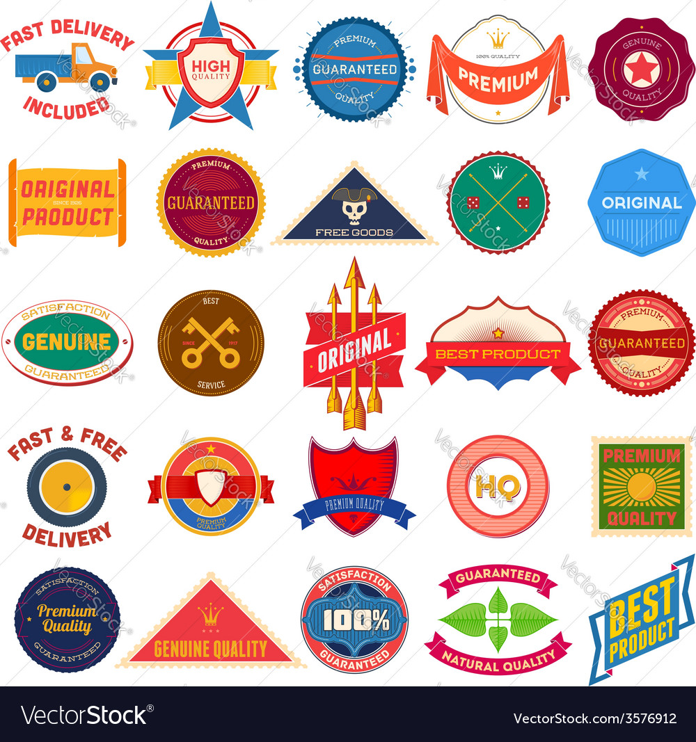 Big set of flat colored vintage labels vector | Price: 1 Credit (USD $1)