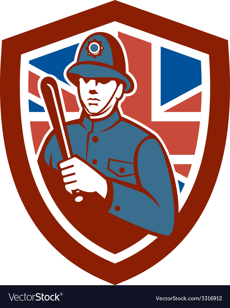 British bobby policeman truncheon flag shield vector | Price: 3 Credit (USD $3)