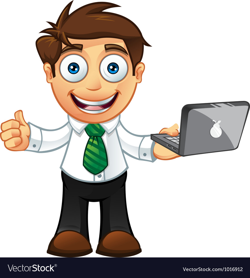 Business man thumbs up with laptop vector | Price: 3 Credit (USD $3)