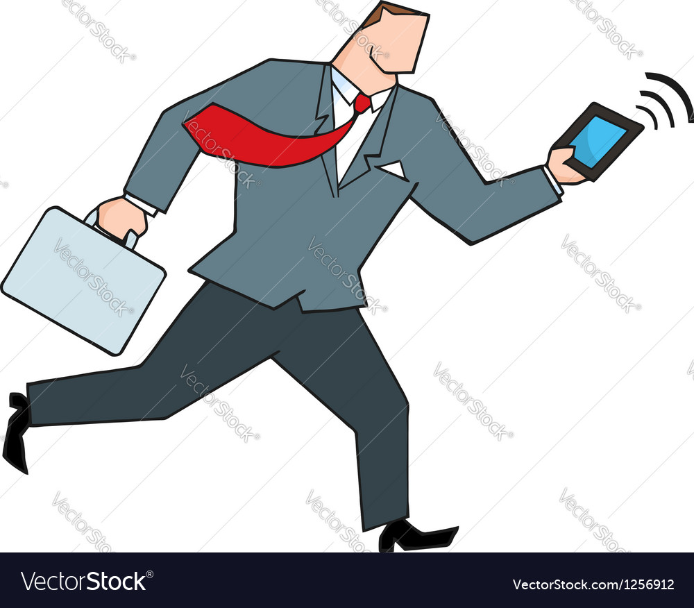 Businessman running with briefcase and tablet vector | Price: 1 Credit (USD $1)