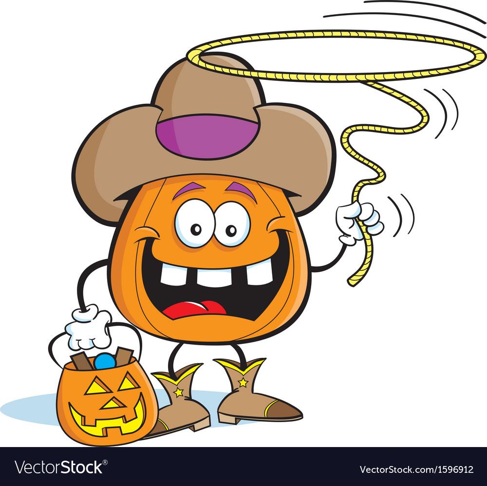 Cartoon pumpkin in cowboy costume vector | Price: 1 Credit (USD $1)