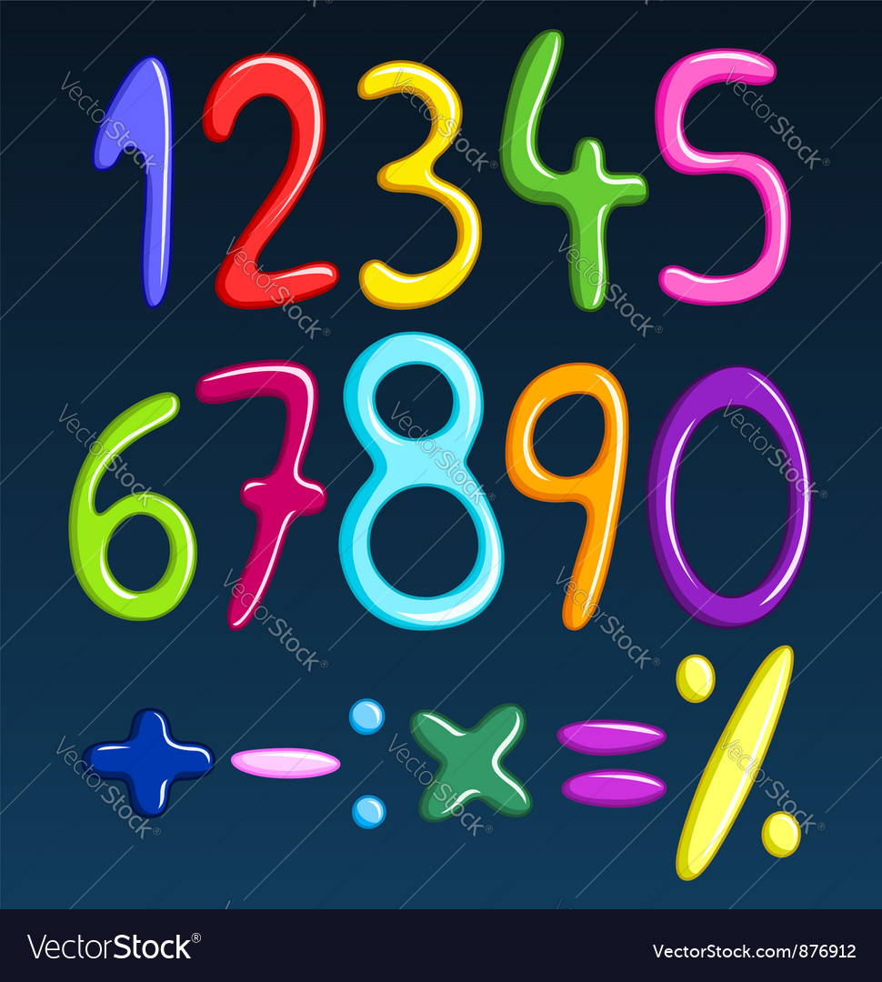 Colorful spaghetti numbers vector | Price: 1 Credit (USD $1)