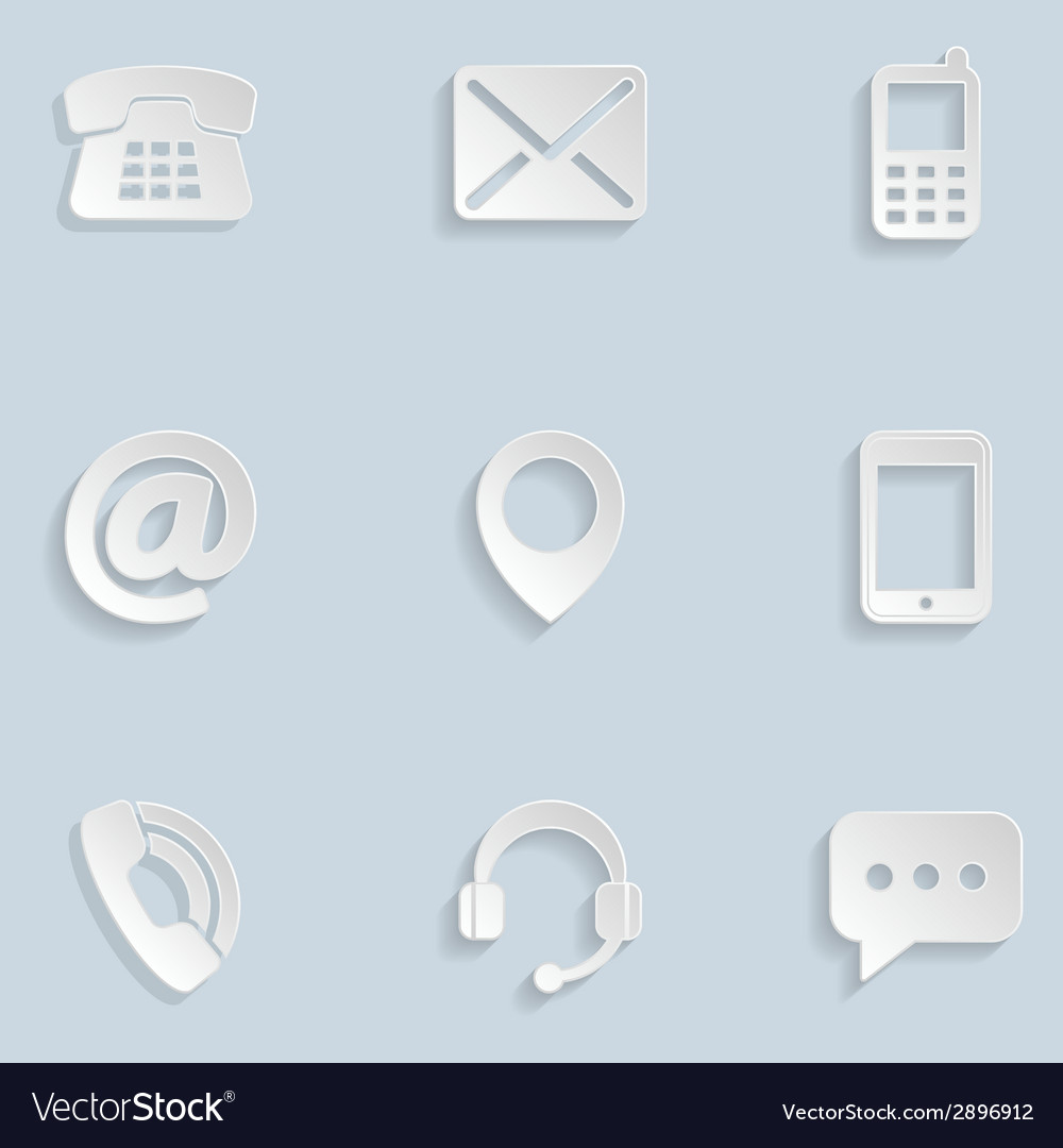 Contact us paper icons vector | Price: 1 Credit (USD $1)