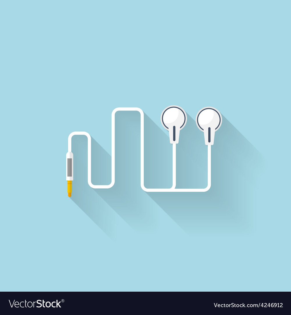 Flat web icon headphones vector | Price: 1 Credit (USD $1)