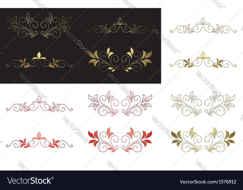 Floral golden and red design elements vector | Price: 1 Credit (USD $1)