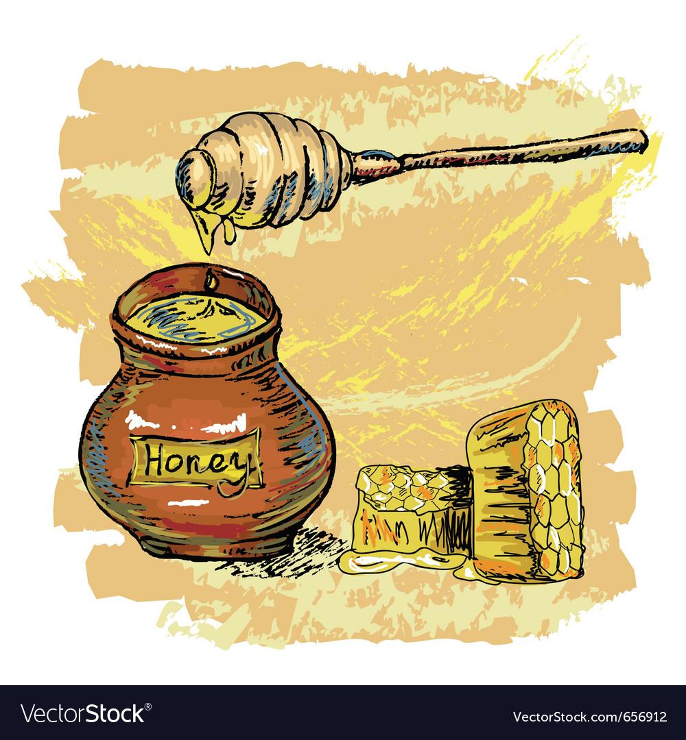 Honey jar with honeycombs vector | Price: 1 Credit (USD $1)