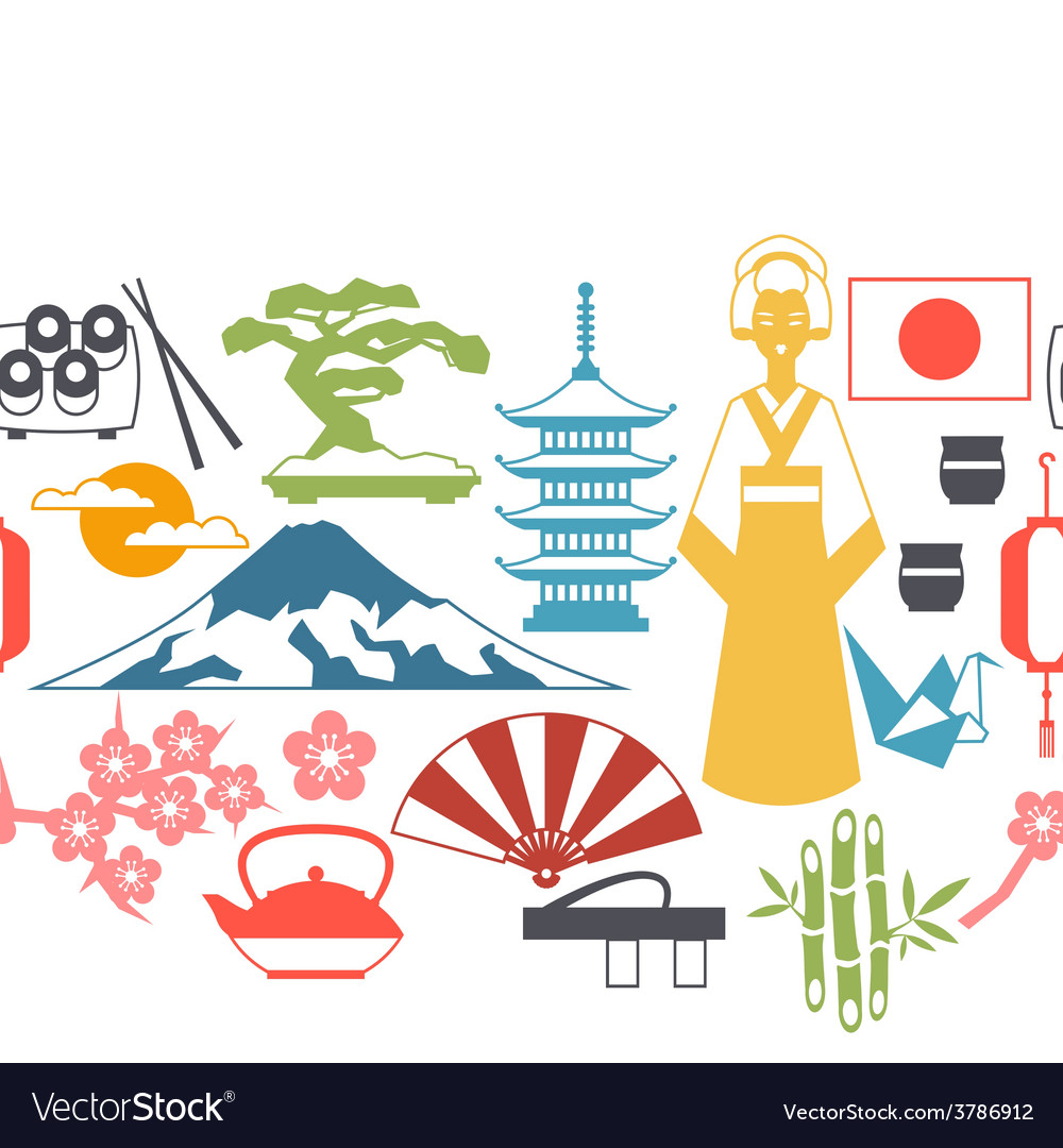 Japan seamless pattern vector | Price: 1 Credit (USD $1)