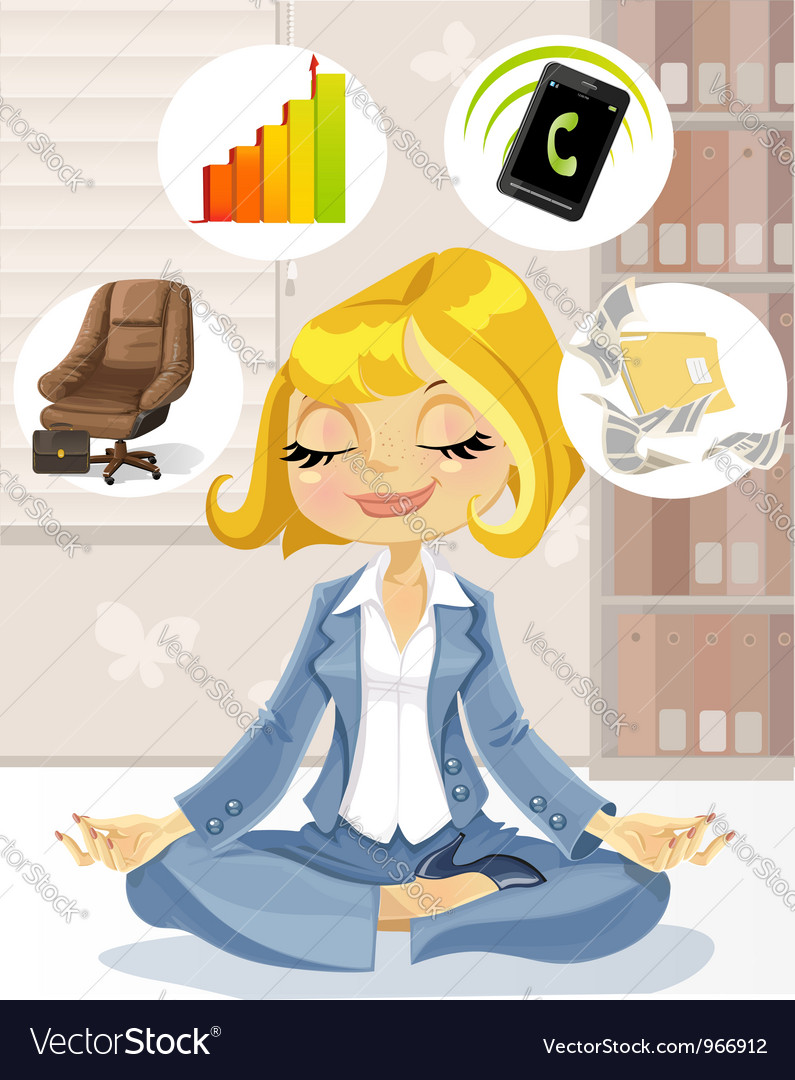 Lovely business lady is engaged in meditation vector | Price: 5 Credit (USD $5)