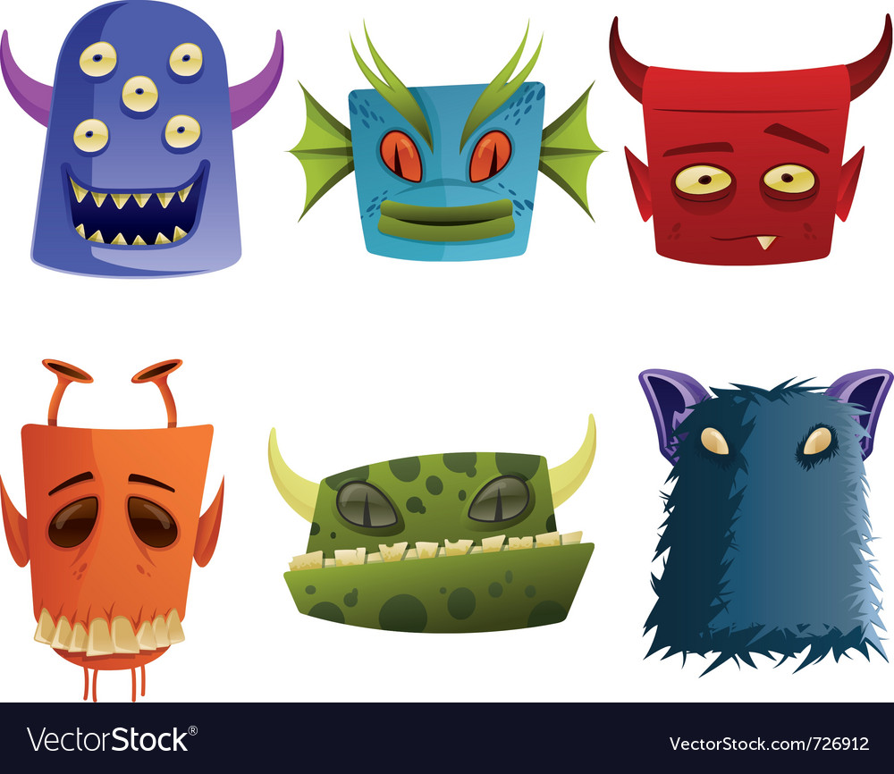 Six monster heads vector | Price: 1 Credit (USD $1)