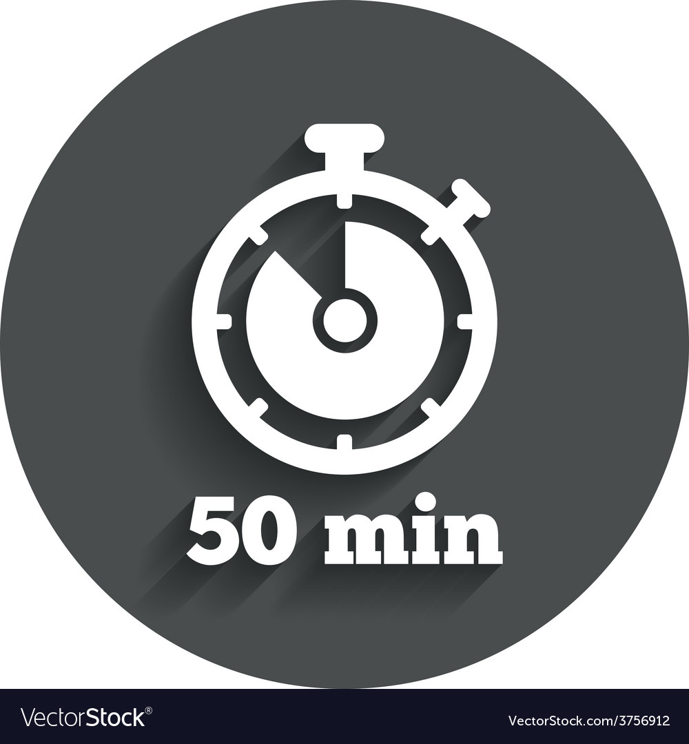 Timer sign icon 50 minutes stopwatch symbol vector | Price: 1 Credit (USD $1)