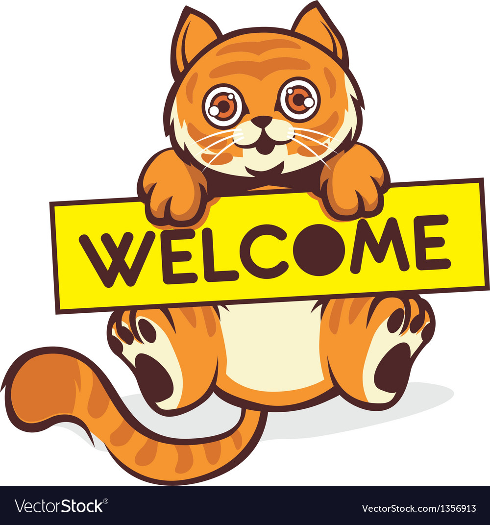 Baby cat hold a welcome sign vector | Price: 1 Credit (USD $1)
