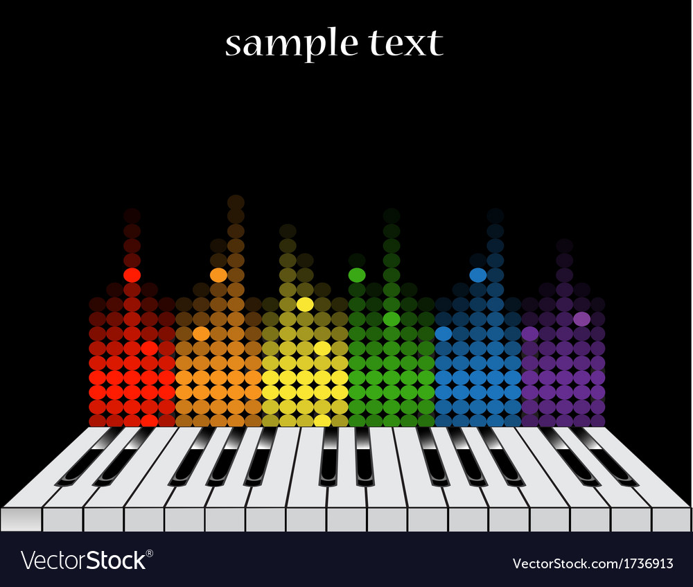 Background with piano keys and colorful equalizer vector | Price: 1 Credit (USD $1)