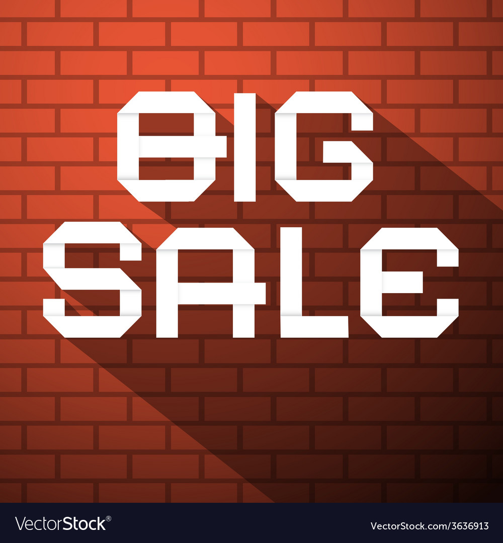 Big sale title on dark red bricks background vector | Price: 1 Credit (USD $1)