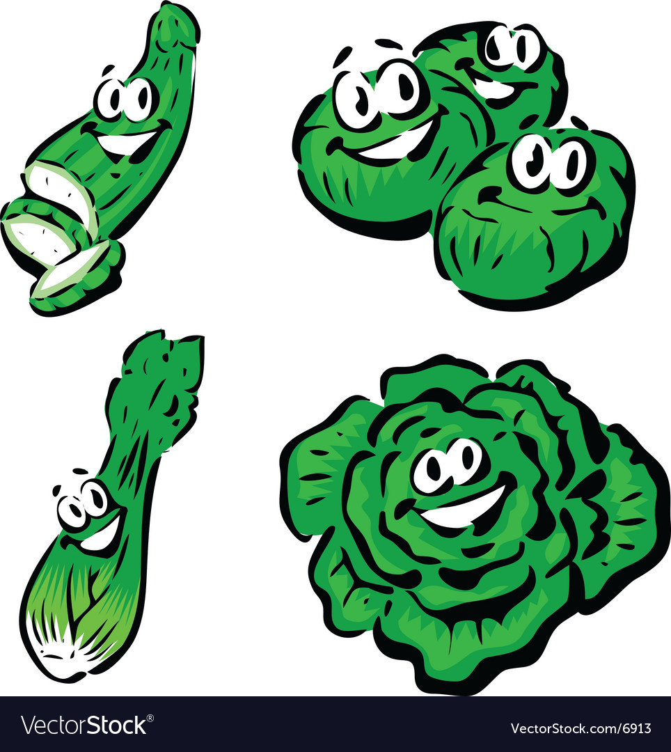 Cucumber brussels sprouts celery lettuce vector | Price: 1 Credit (USD $1)