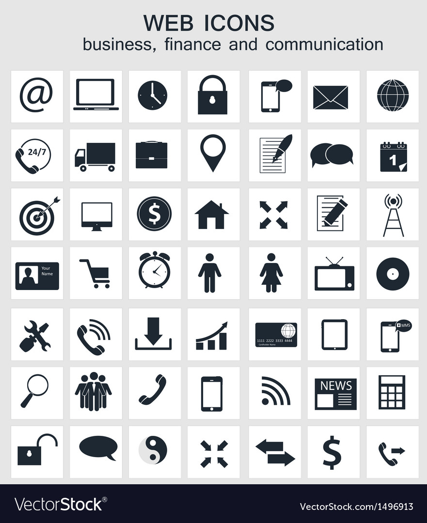 Different business finance and communication icons vector | Price: 3 Credit (USD $3)