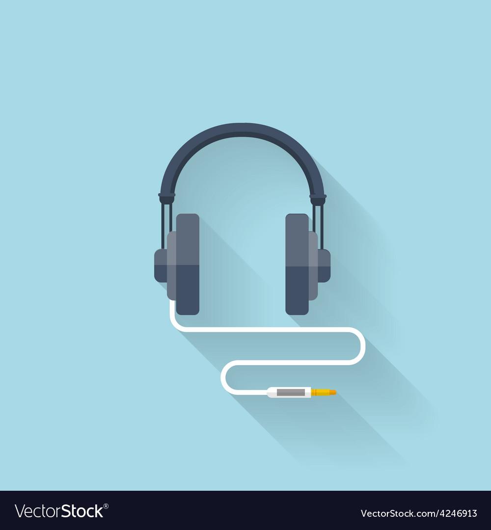 Flat web icon headphones vector | Price: 1 Credit (USD $1)
