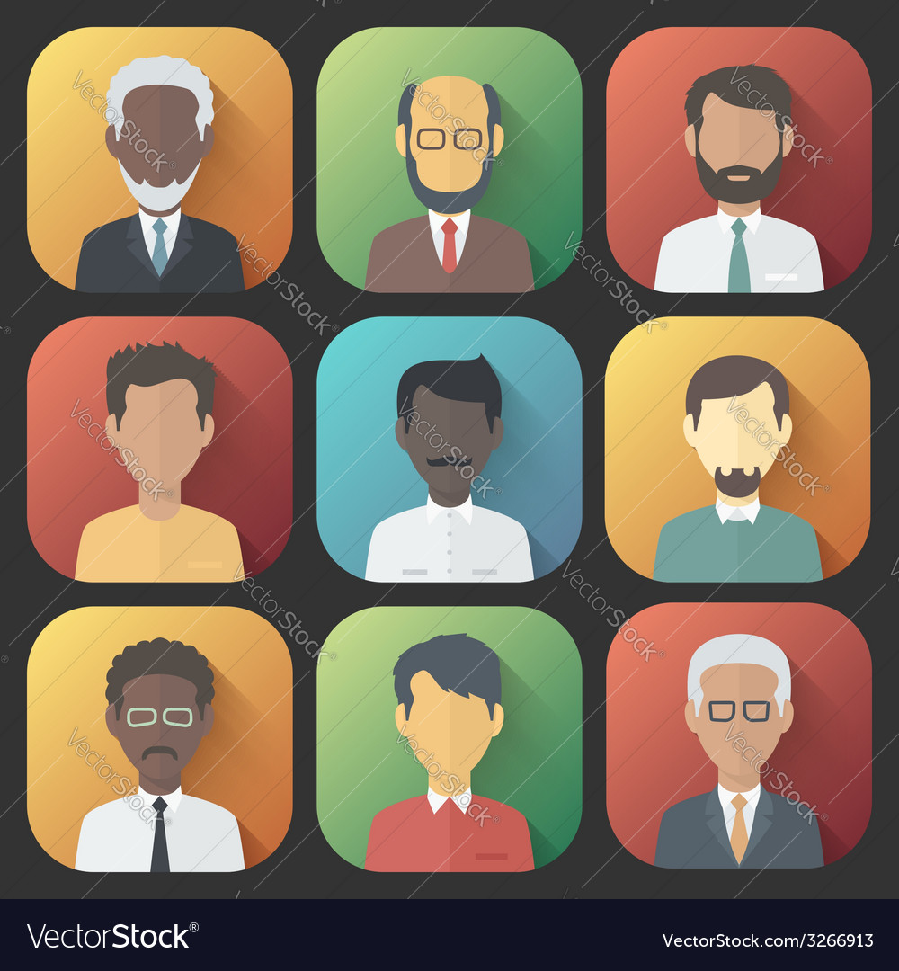 Icons set of persons male different ethnic vector | Price: 1 Credit (USD $1)