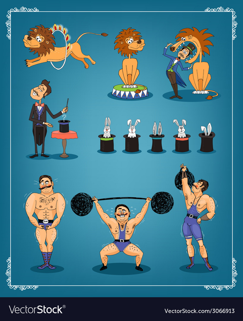 Magician animal trainer and strongman vector | Price: 1 Credit (USD $1)