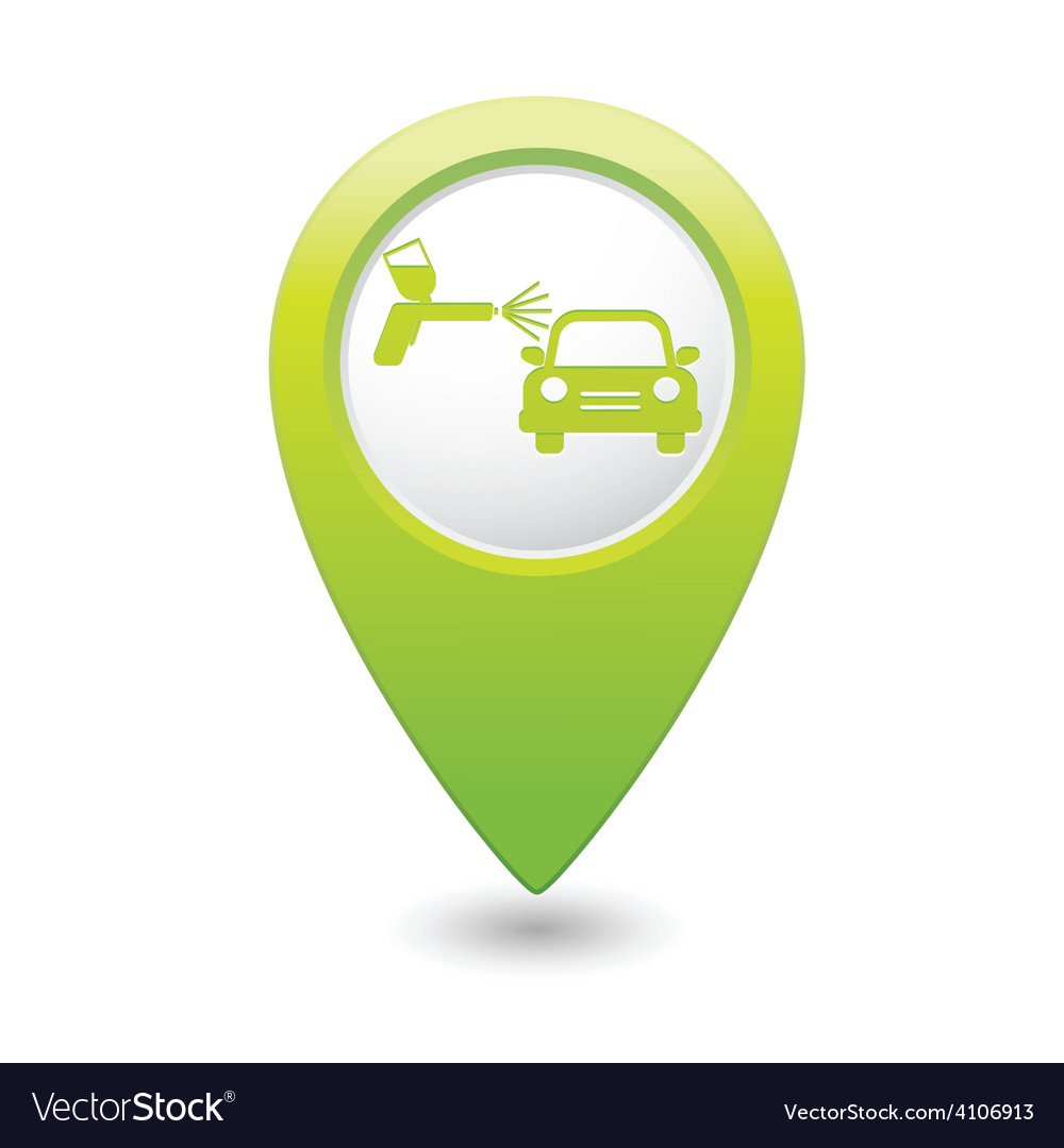 Painting of cars green map pointer vector | Price: 1 Credit (USD $1)