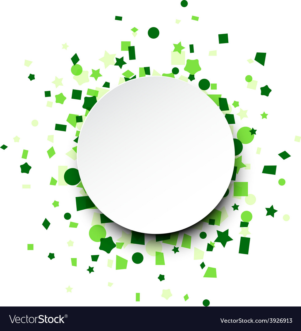Round paper card over green confetti vector | Price: 1 Credit (USD $1)
