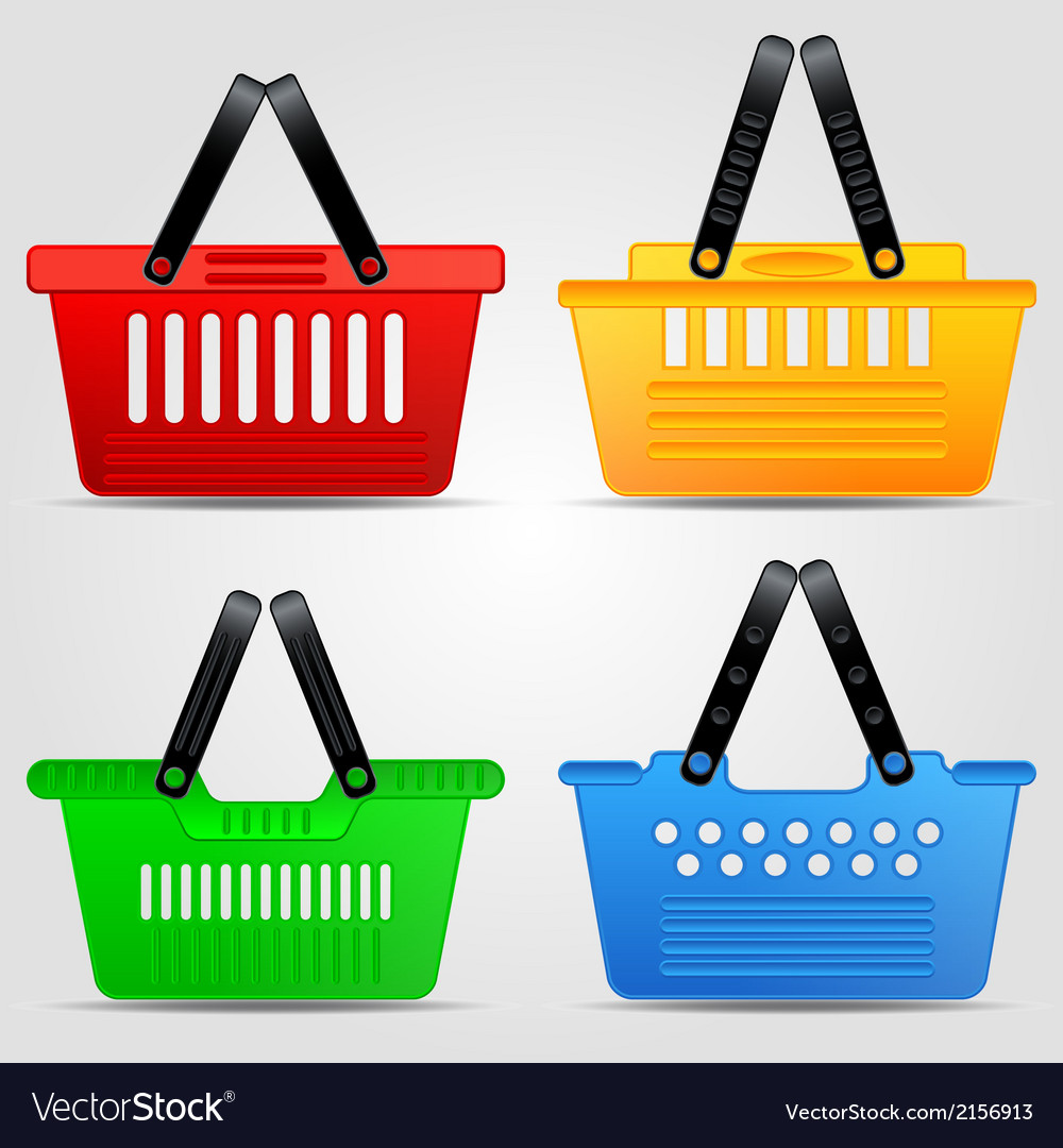 Shopping baskets set vector | Price: 1 Credit (USD $1)