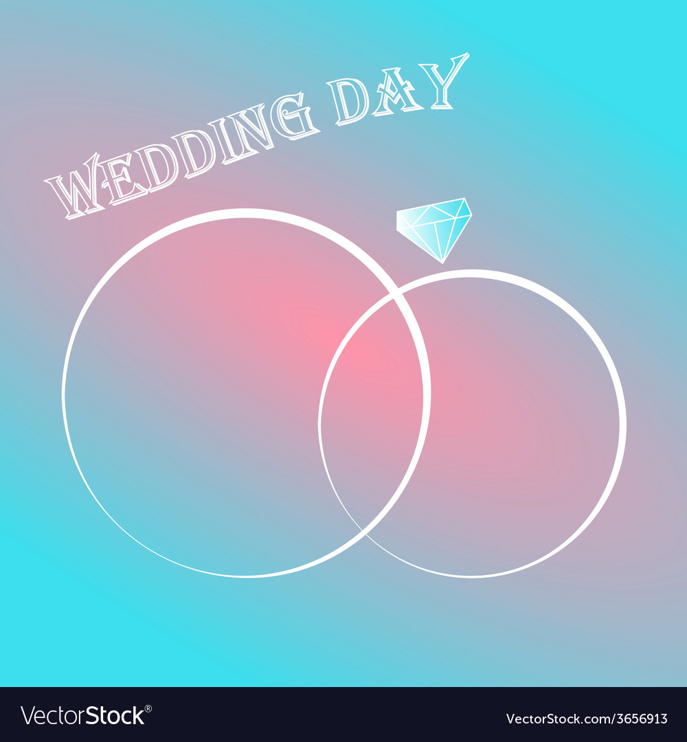 Wedding day invitation card with two rings vector | Price: 1 Credit (USD $1)