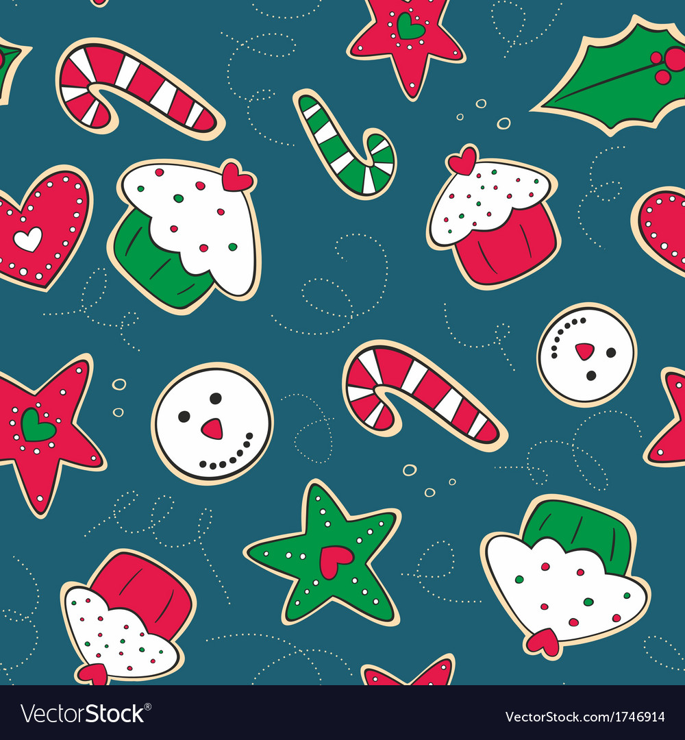 Christmas gingerbread cookies green and red vector | Price: 1 Credit (USD $1)