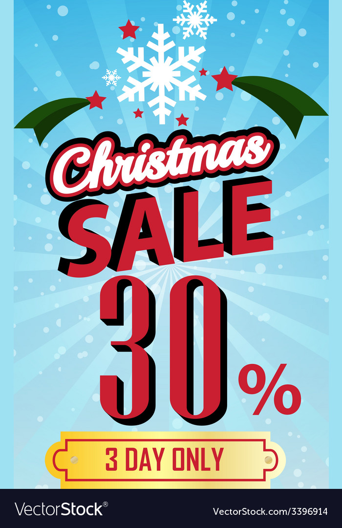 Christmas sale 30 percent typographic background vector | Price: 1 Credit (USD $1)