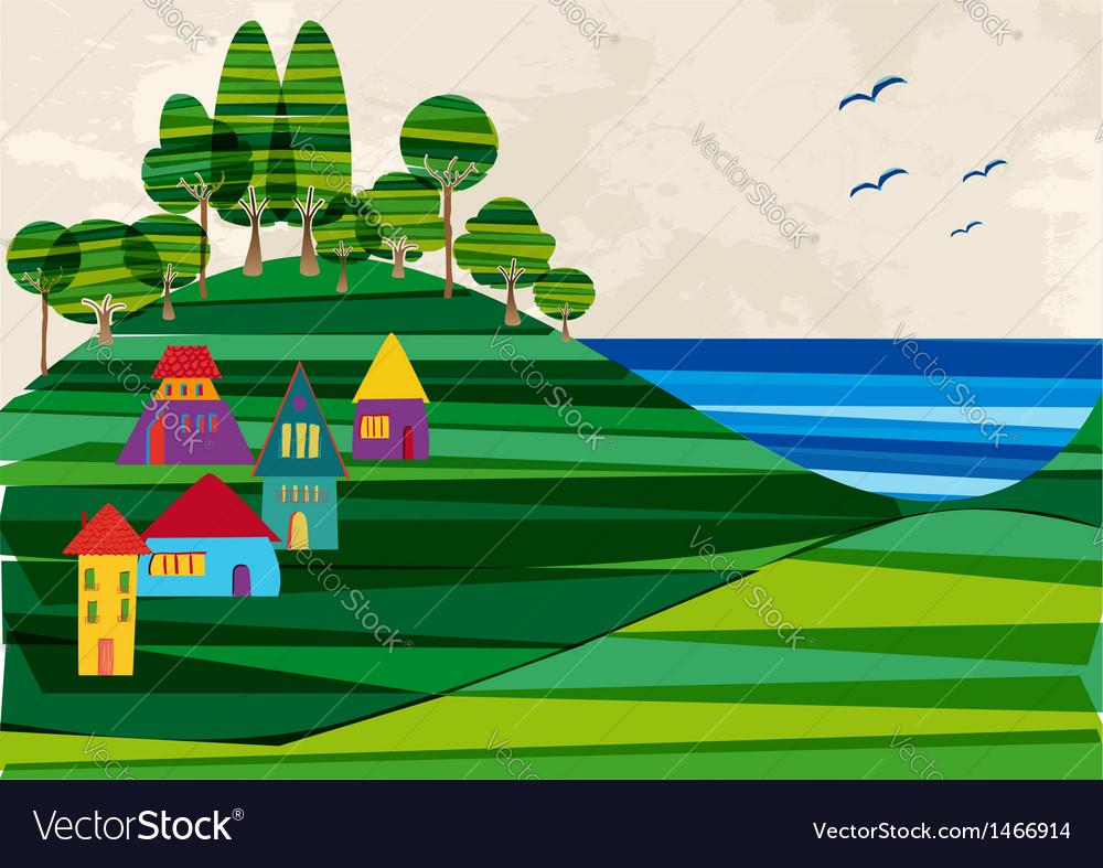 Contemporary seashore town vector | Price: 1 Credit (USD $1)