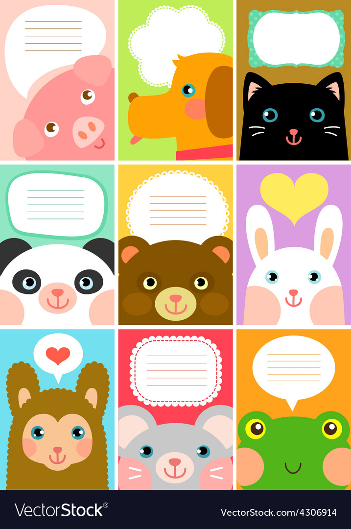 Cute animal labels vector