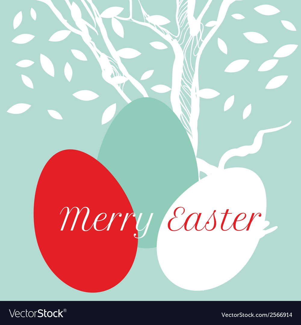 Easter eggs on background with tree vector | Price: 1 Credit (USD $1)