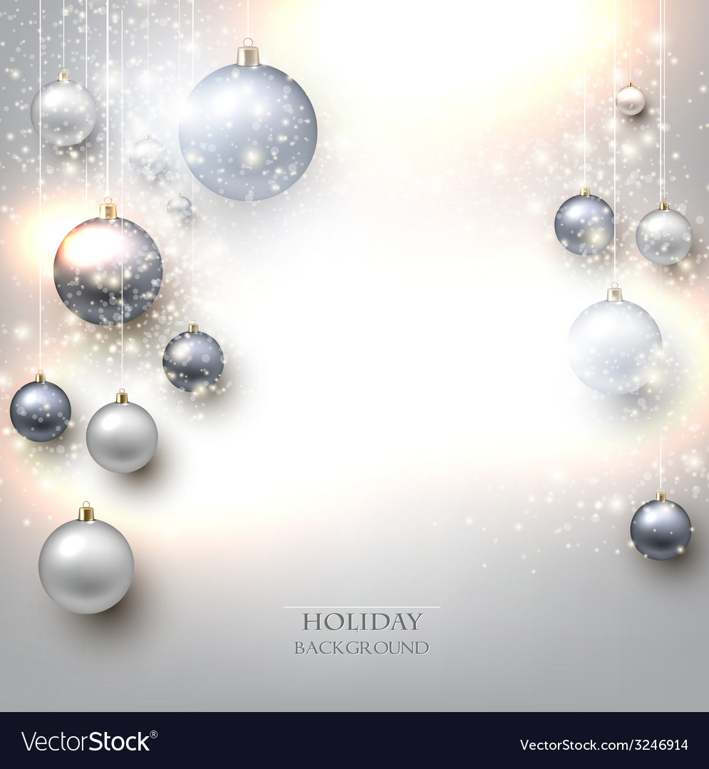 Elegant shiny christmas background with baubles vector | Price: 1 Credit (USD $1)