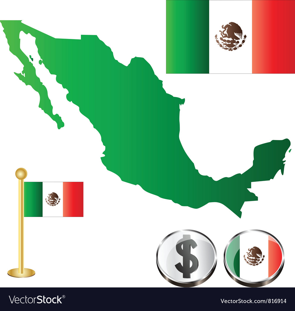 Mexico map small vector | Price: 1 Credit (USD $1)