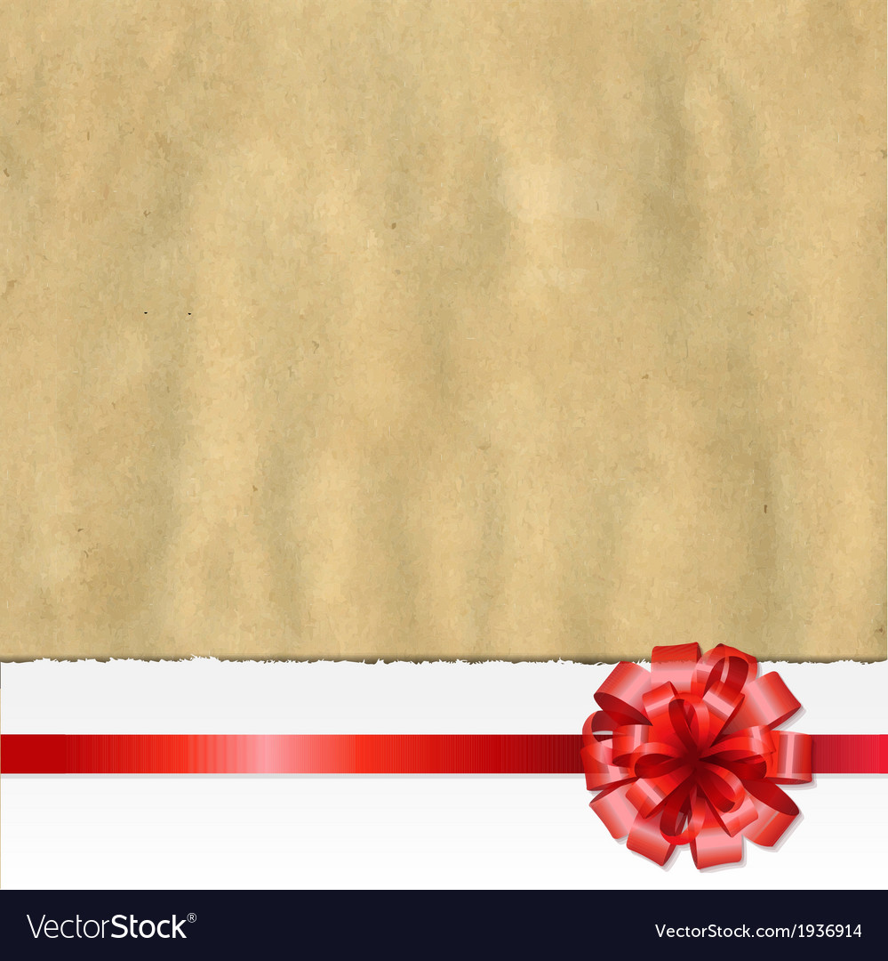 Retro ripped paper banner with red bow vector | Price: 1 Credit (USD $1)