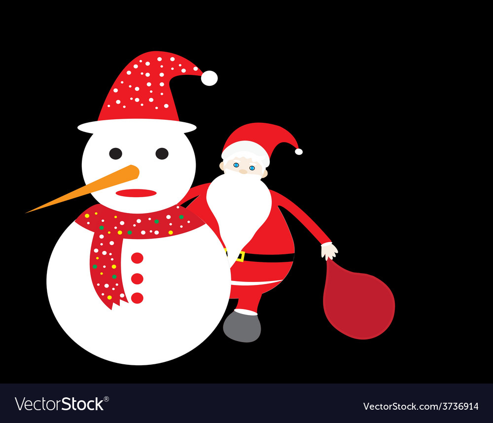 Santa claus and snowman christmas card vector | Price: 1 Credit (USD $1)