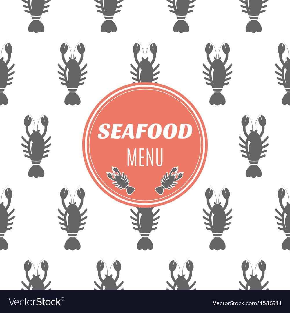 Seafood menu with lobster vector | Price: 1 Credit (USD $1)