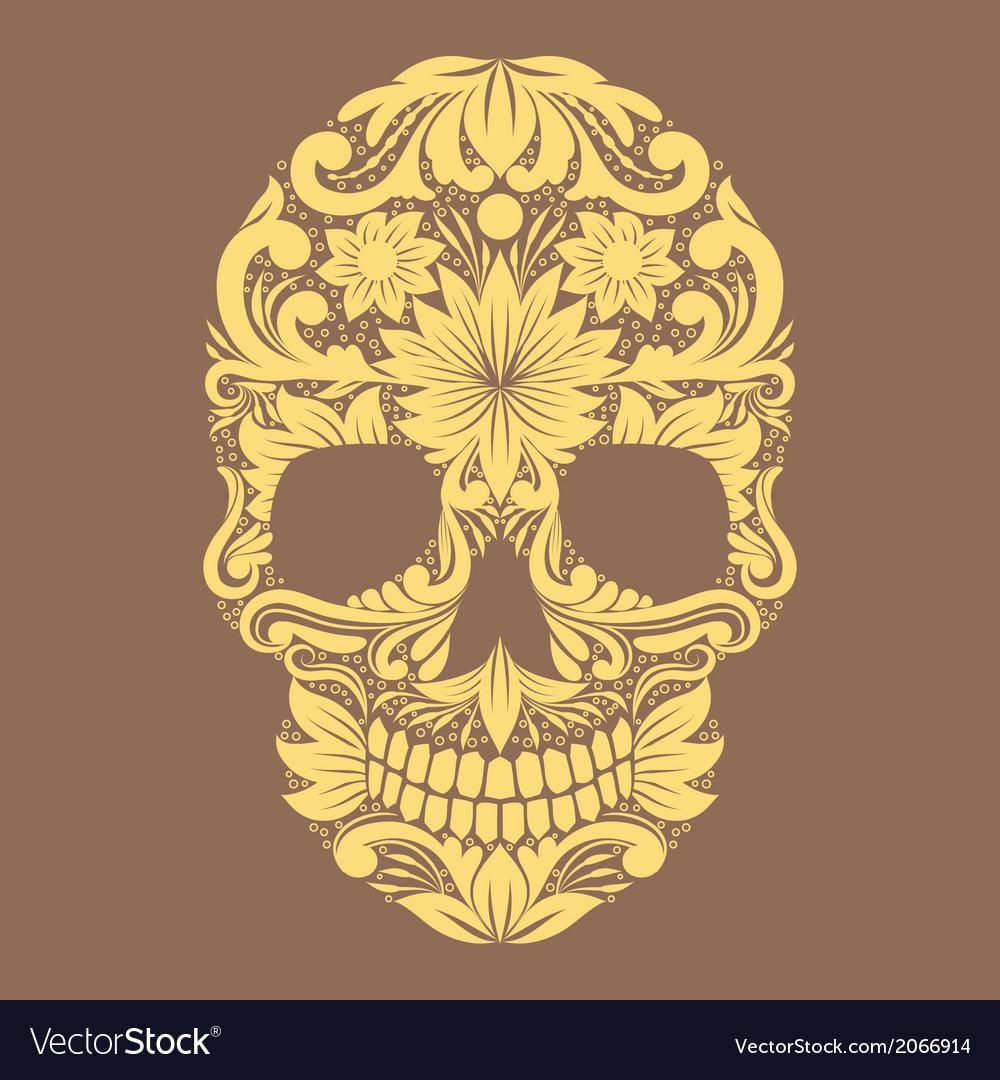 Skull ornamental flower vector | Price: 1 Credit (USD $1)