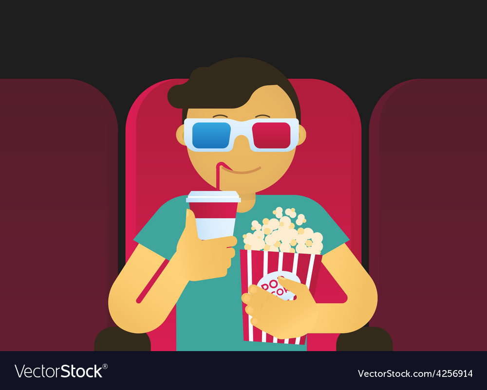 Young guy sitting in the cinema vector | Price: 1 Credit (USD $1)